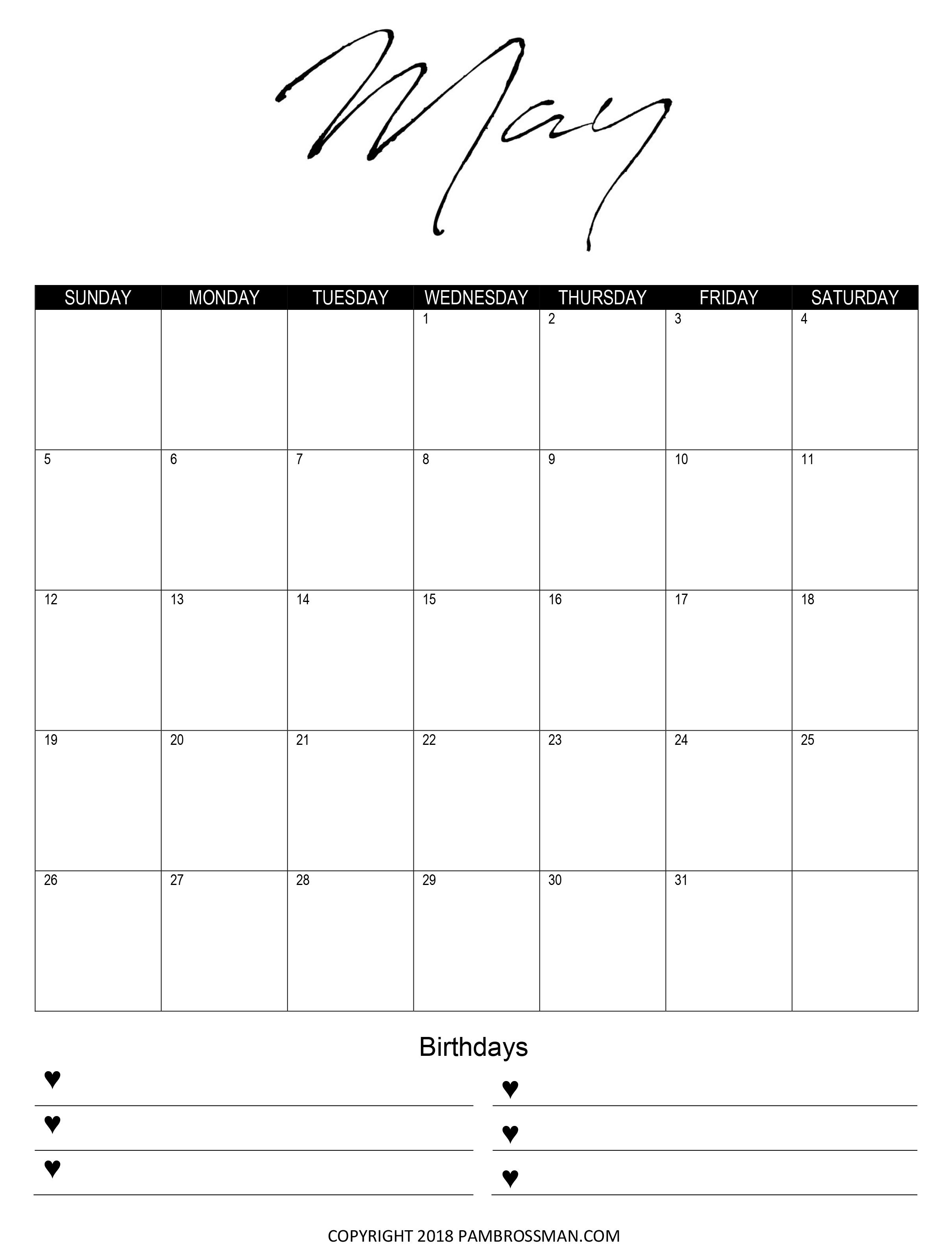 Free Printable Calendar Pam Brossman