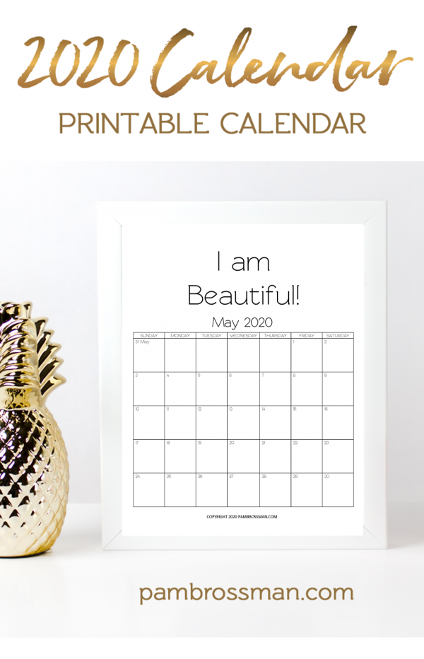 2020 calendar printable free monthly