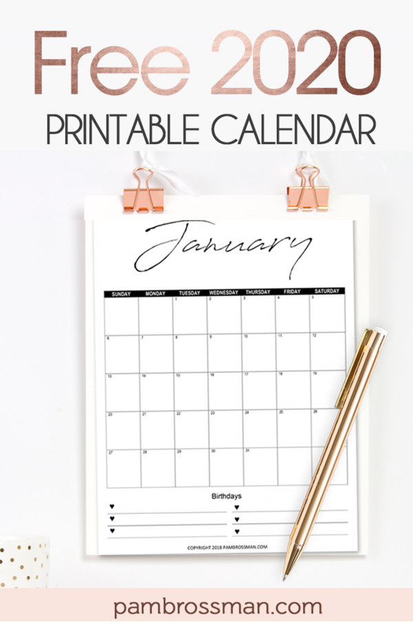 Calendar Printables Free 2020