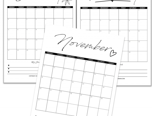 2020 Printable Calendar Goals