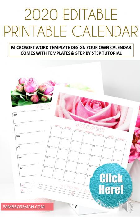 2020 Editable Printable Calendar